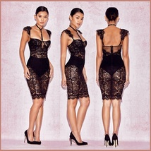 Elegant Evening Black Lace Party Club Mini Dress Includes Black Hip Panties  image 2