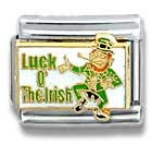 Primary image for St. Patrick's Leprechaun Luck of the Irish 9MM Italian Charm Casa D' Oro