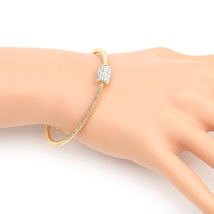 UE- Sleek Designer Gold Tone Wrap Bangle Bracelet With Swarovski Style C... - $18.99