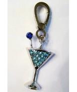 AQUA BLUE SILVER MARTINI AQUAMARINE CRYSTAL CHARM FOR DESIGNER CHARM BRA... - $14.99