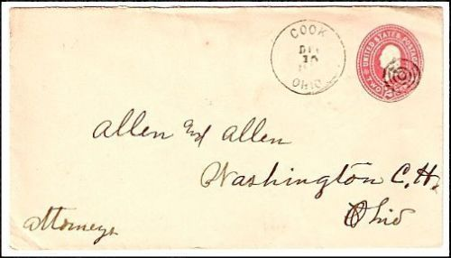 1900 Cook OH Discontinued/Defunct Post Office Postal Cover