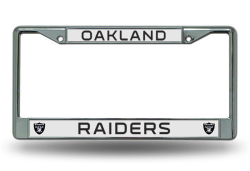 OAKLAND RAIDERS CAR AUTO CHROME METAL LICENSE PLATE TAG FRAME NFL FOOTBALL