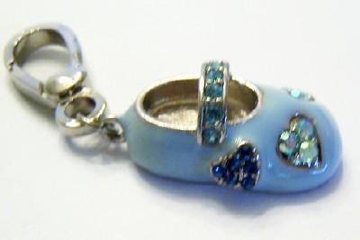 BLUE ENAMEL BABY SHOE RHINESTONE CRYSTAL CHARM FOR DESIGNER STYLE BRACELETS
