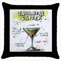 Throw pillow case chill out bar cocktail japanese slipper - $19.50