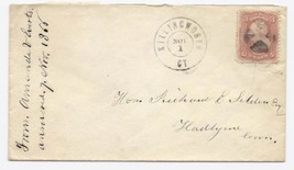 1866 Killingworth CT Discontinued/Defunct (DPO) Post Office Postal Cover - $9.95