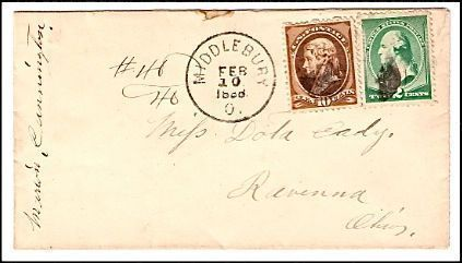 1888 Middlebury OH Discontinued/Defunct (DPO) Post Office Postal Cover