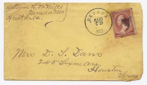 1885 Nevada MO Vintage Post Office Postal Cover