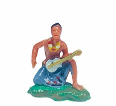 Hula man vtg Hong Kong 101 tiki hawaii miniature plastic figurine lei gu... - $19.25
