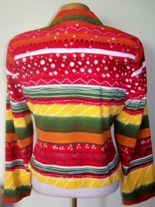 Lorizoni Show Crystal Bright Sunset Colors Striped Rail Show Jacket Extra Small