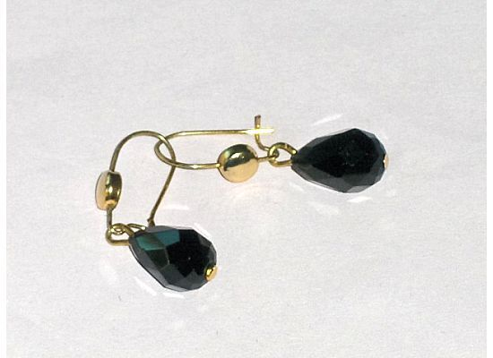 Vintage Black Tear Drop Pierced Earrings
