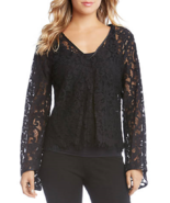 NWT KAREN KANE BLACK LACE BELL SLEEVES TOP BLOUSE SIZE M $108 - $31.82
