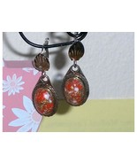 Confetti Earrings Tear Drop Cabochon Bezel Set - $39.97