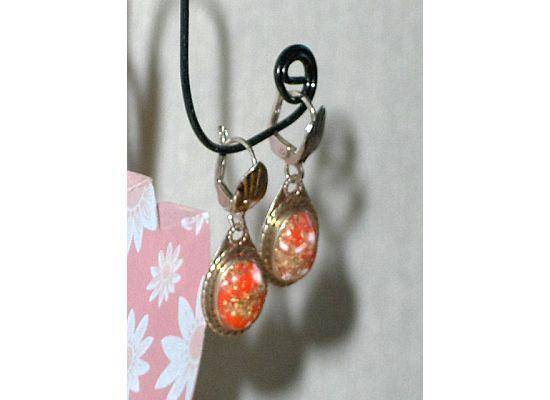 Confetti Earrings Tear Drop Cabochon Bezel Set