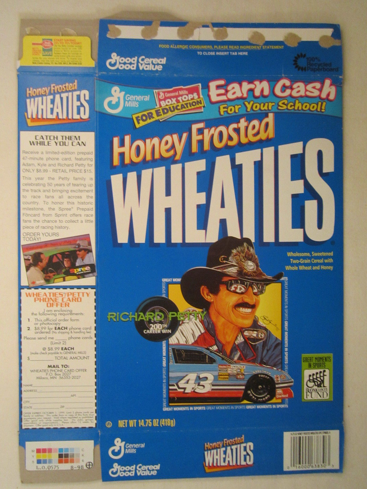 Primary image for Empty WHEATIES Box 1998 14.75oz RICHARD PETTY 200th Career Win [Z202d5]