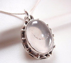 Rose Quartz with Rope Style Accents 925 Sterling Silver Pendant h121sk - $16.82