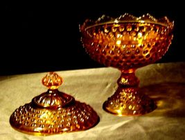 Amber glass diamond point footed compote-candy dish AA19-1601 Vintage image 5