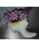 Handmade Violet / Cherub Floral Arrangement in FENTON Milk Glass Hobnail... - $48.90