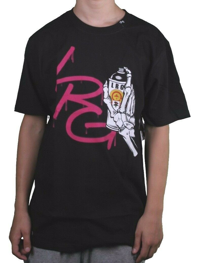 LRG Lifted Research Group Men's Black Skeleton Graffiti Tagged Spray Can T-Shirt
