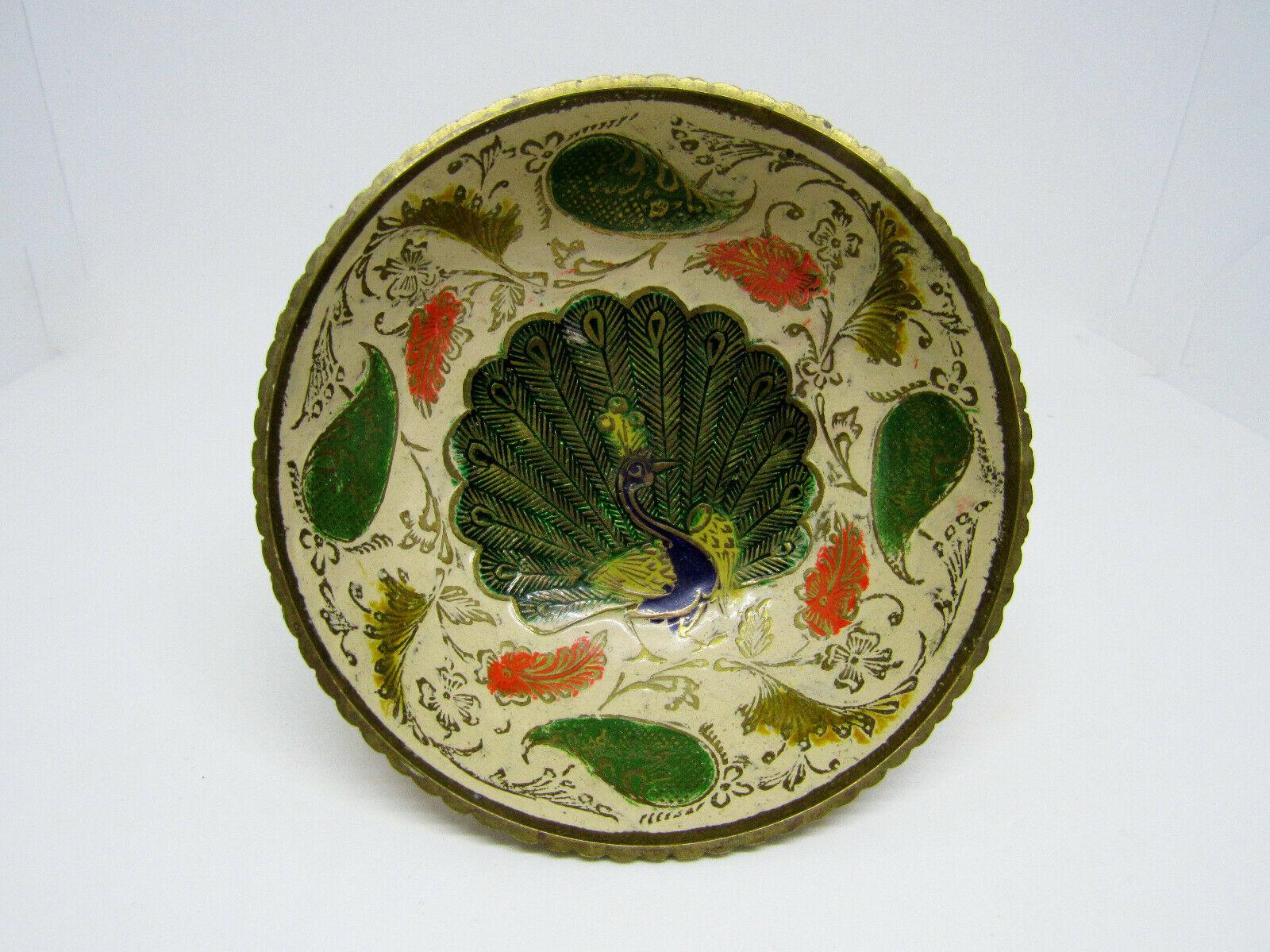 Vintage Brass Ornate Peacock Enameled Bowl on Pedestal