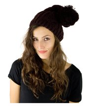 Women's Cute Cat Bunny Ear Slouchy Knit Beanie Hat Cap (Cable Knit Pom B... - $9.89