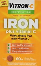 Vitron-c High Potency Iron Supplement Tablets 60 Ct (Pack of 2) - $28.66