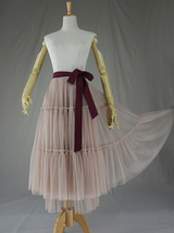 Adult Bridesmaid Tiered Tulle Skirt, Nude Pink Tulle Skirt with Belt,Photo Shoot image 5