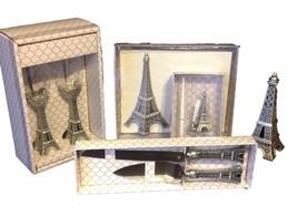 8 pc  Eiffel Tower wedding set knife glasses pen guest book cake top Paris - $67.90