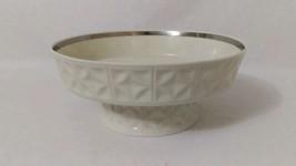 Lenox Diamond Design Round COMPOTE Pedestal Serving Bowl Cream Platinum ... - $29.70