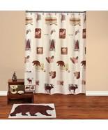 18-Pc Bathroom Set Moose Cabin Bear Deer Lodge Shower Curtain Bath Acces... - $134.99