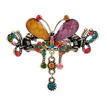 Retro Luxury Aulic Style Crystal Bronze Alloy Hair Claws, Butterfly(Multicolor)