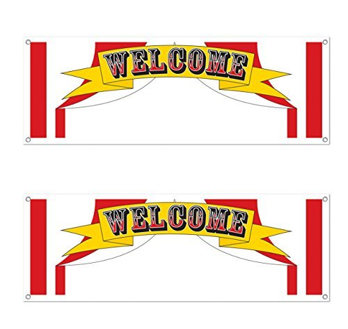 Beistle S57515AZ2, 2 Piece Welcome Sign Banners, 5' x 21''