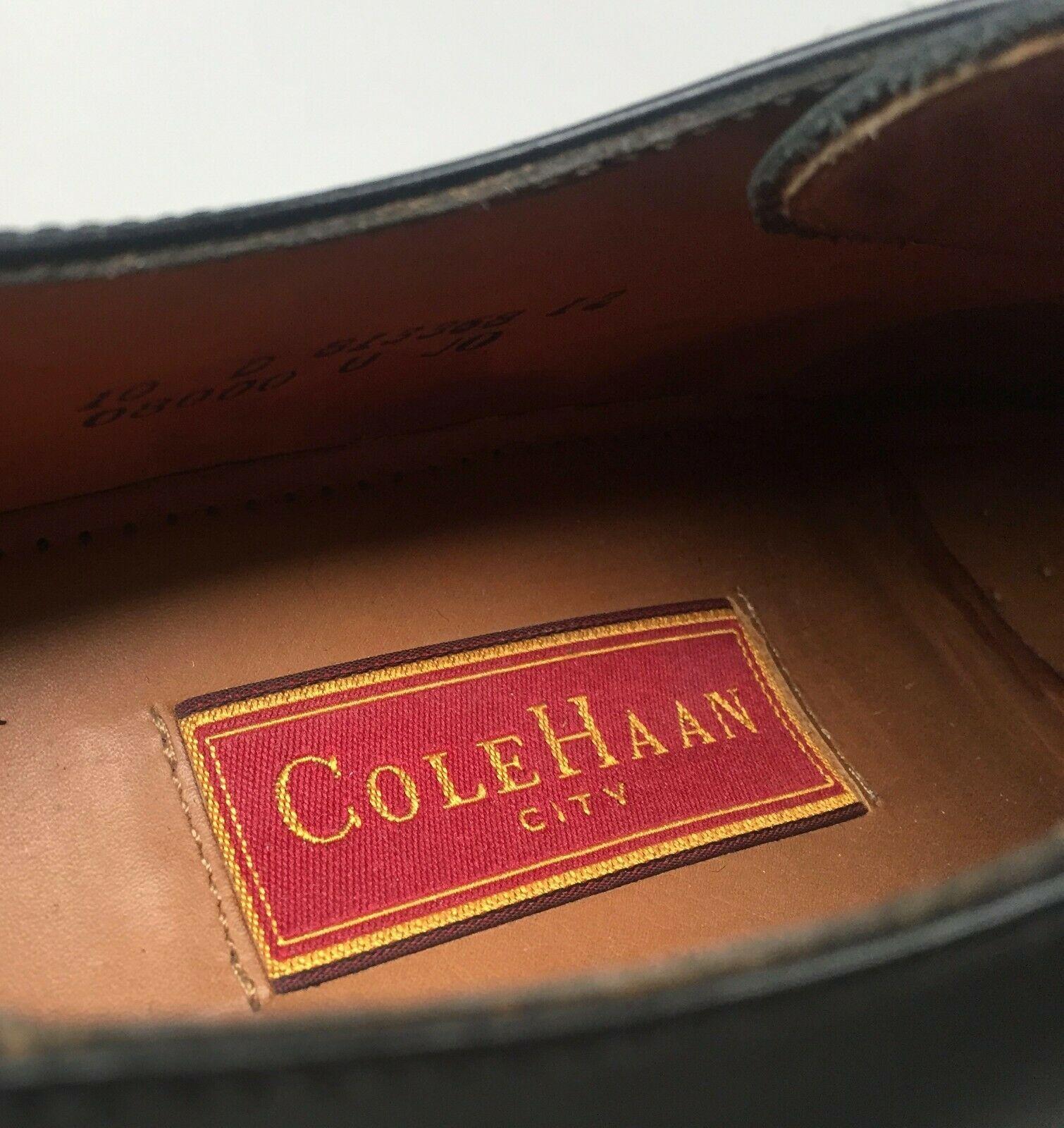 """COLE HAAN """"CITY"""" MEN'S BLACK LEATHER  CAP TOE OXFORDS SIZE 10D #813368-04"""