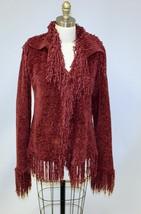 Vesto Pazzo Cordovan Chenille Cardigan Sweater Fringe S/M Maroon Super Soft - $34.16