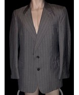 CHRISTIAN DIOR 100% WOOL SPORT COAT JACKET BLAZER CHARCOAL GRAY STRIPE S... - $24.74