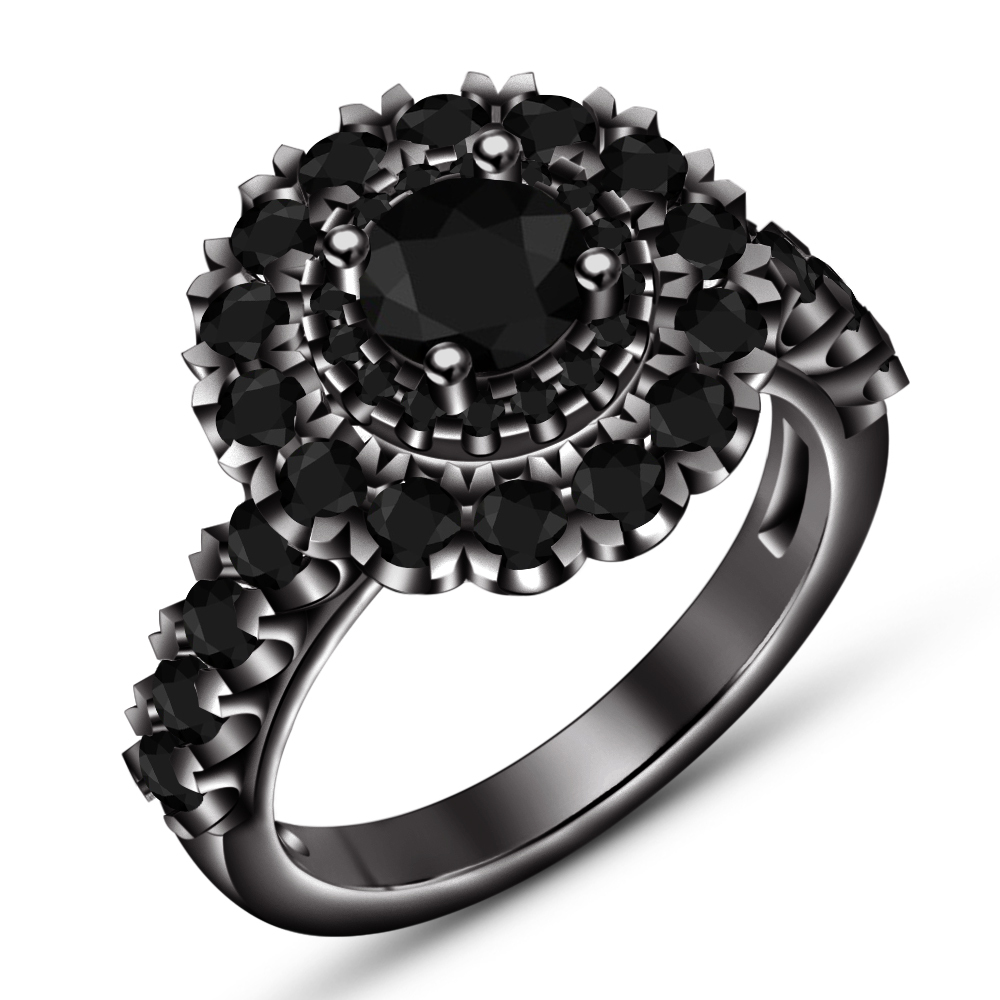 In 14k Black Gold Finish 925 Silver Women's Engagement Ring W/ Round Cut Diamond