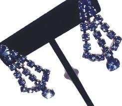 Vintage Blue Rhinestone Drop Dangle Screw Back Earrings - $22.00