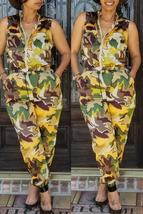 Trendy Camouflage Printed Yellow One-piece Jumpsuit - $32.24
