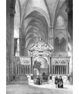 FRANCE Reims Abbey Church Saint Remy Interior View - SUPERB 1843 Antique... - $17.28