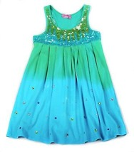 HavenGirl Dress Tie Dye Dress Sequins Beach Turquoise Rhinestones Ombre... - $14.84