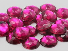 25mm Pink Fuchsia A27 Flat Back Round Acrylic Gems - 20 Pieces - $6.01