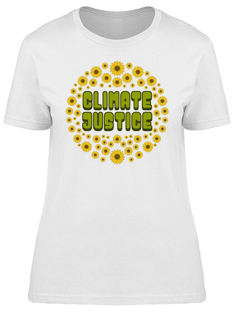 Climate Justice Hippie Style Sunflowers Graphic Women's White T-shirt