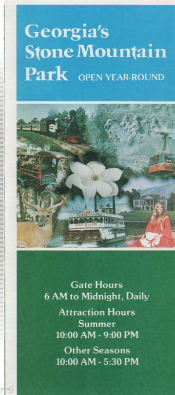 Primary image for Georgia's Stone Mountain Park Brochure and price schedule 1979