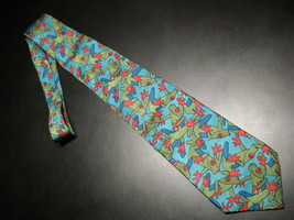 WWF World Wild Life Neck Tie Frogs in Blues Green and Red Against Light ... - $10.99