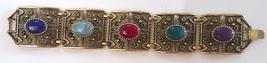 vintage Sarah Coventry Granada gold tone stone bracelet 1970 filigree wide - $24.00