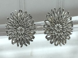 Vintage Gray Ivory Peony Carnation Clip On Earrings 24252 - $7.99