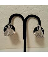 Vintage Marvella Pearl Pave Crystal Flower Earrings - $30.00