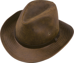 Henschel Full Grain Oiled Cowhide Leather Safari Hat Made In USA Brown  - £57.45 GBP
