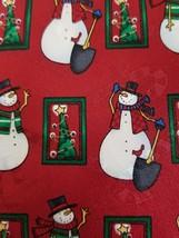 """Men's Tie Hallmark Yule Tie Greetings Snowman Christmas Tress Red Tie 59"""" - $11.60"""