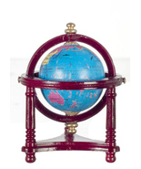 World Globe on Stand Town Square T3332 mahogany DOLLHOUSE Miniature - $9.45