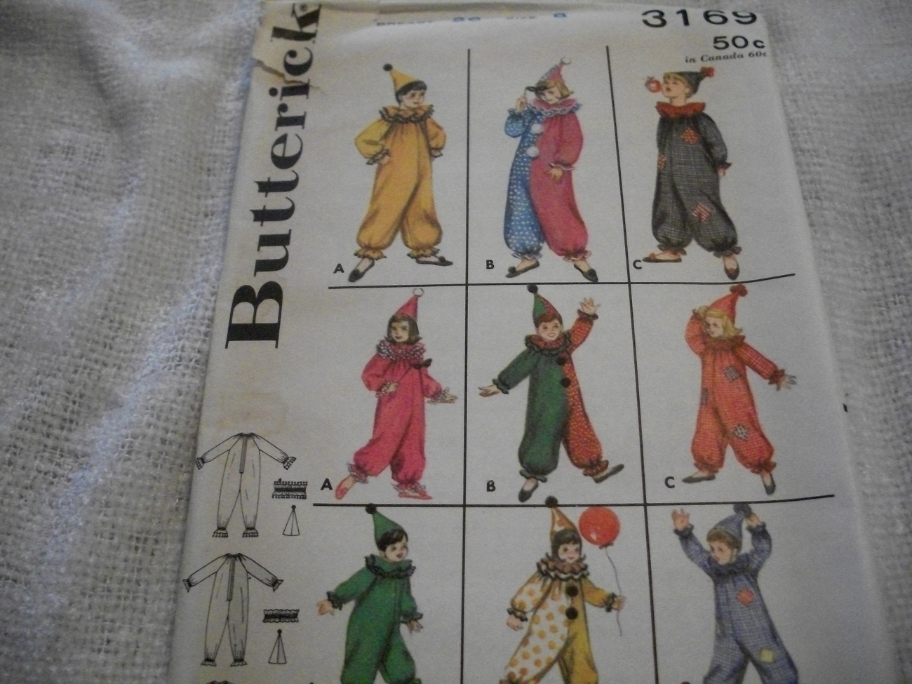Boy's & Girl's Clown Costume Pattern Butterick 3169